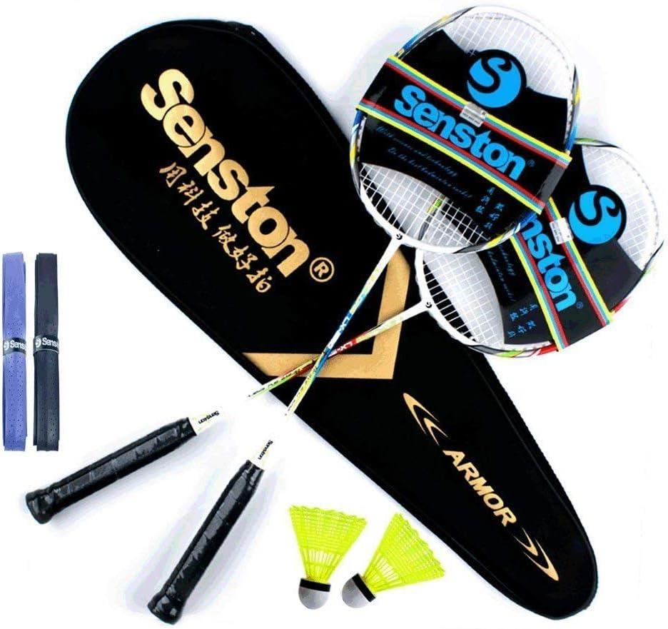 Senston Raquetas de Bádminton,Unisex Adulto Badminton Racket-Incluyendo bádminton Bolsa/2 raquetas/2 bádminton/2 Sobregrip