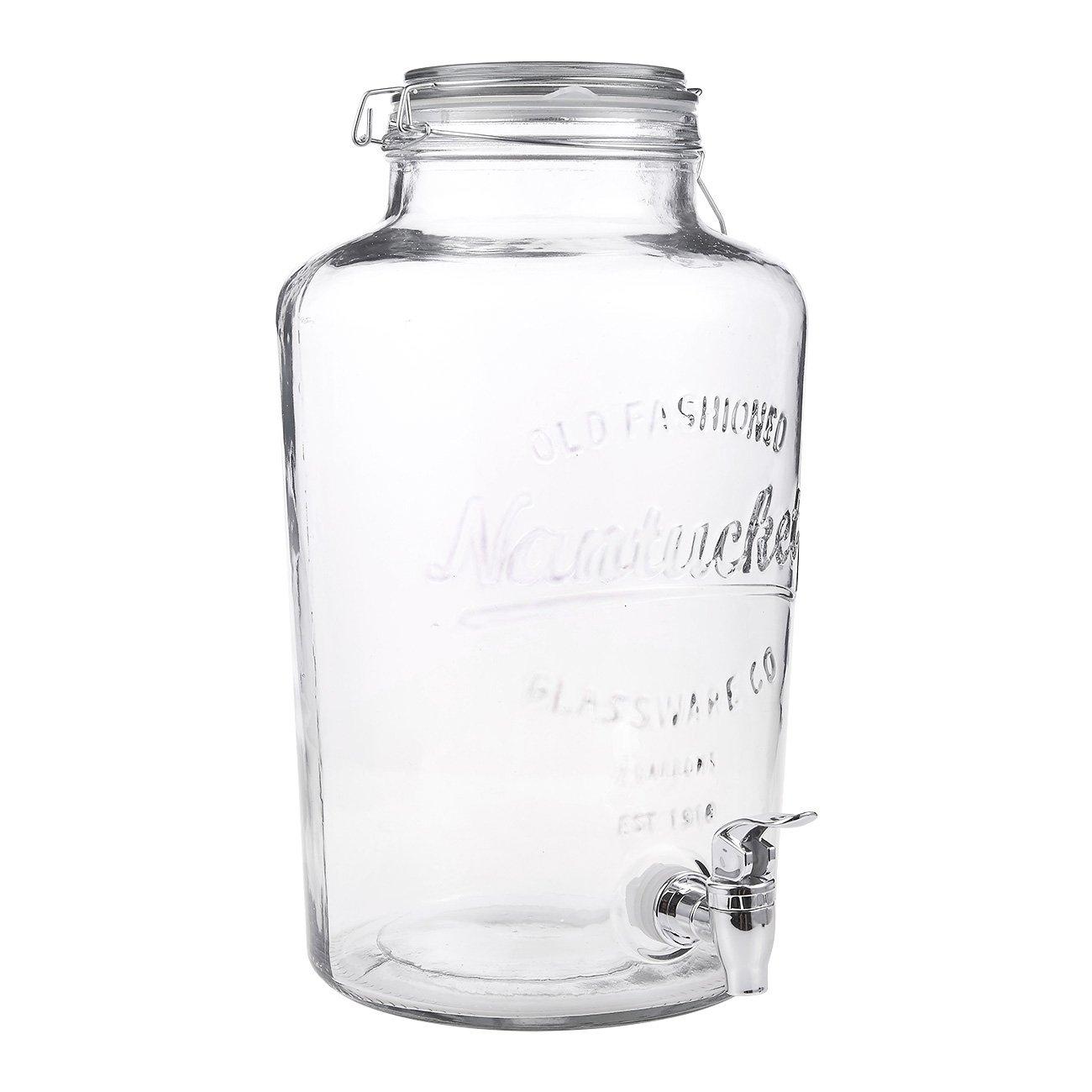 8 Liter/ 2 Gallon Mason Jar Drink Dispenser - Glass Beverage Dispenser with Spigot and Bail Lid Closure