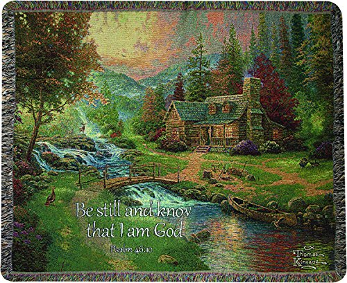 Weavers Tapestry Throw, Psalm 46:10, 50 x 60-Inch, Mountain Paradise Scripture (Thomas Kinkade Bible Cover)