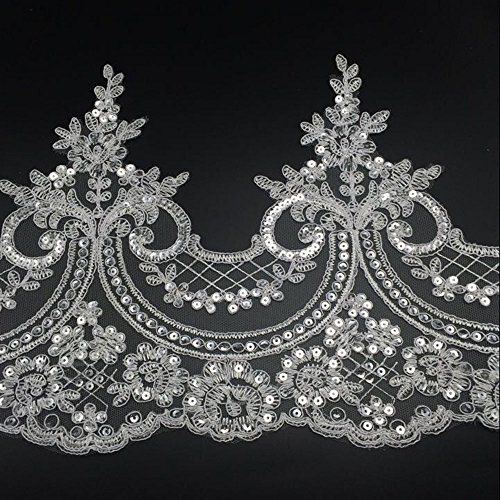 3 Yards Bling Paillette Lace Trims Sequins Embroidered Lace Trims for Bridal Accessories Supply 9inch (22cm) Wide Withe Color