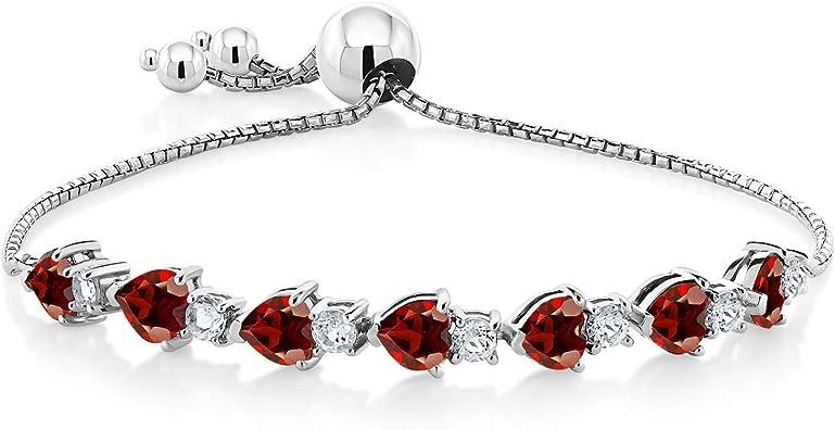 Beaded Bracelet Sterling Silver Bracelet Women Bracelet Genuine Red Garnet And Moonstone Gemstone Bracelet