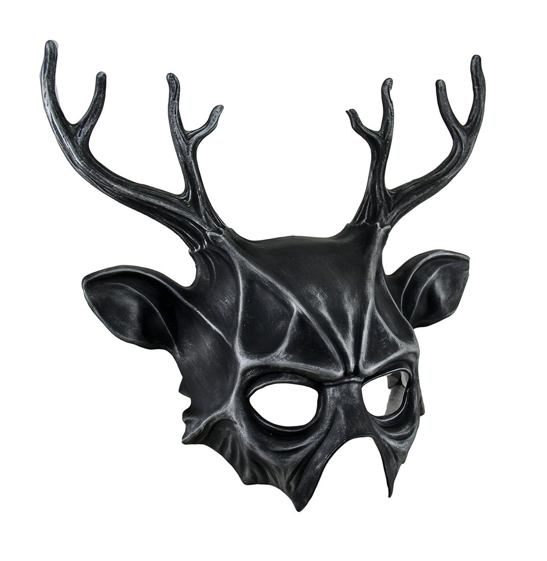 Metallic Finish Deer Antlers Half Face Mask by Zeckos