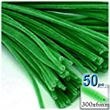 The Crafts Outlet Chenille Stems, Pipe Cleaner, 12-inch (30-cm), 50-pc, Light Green