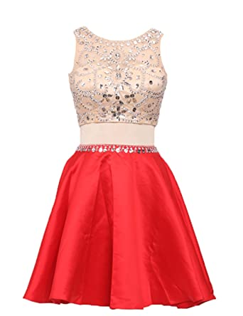 Two Pieces Prom Dresses Stain Short Homecoming Dresses Crystals Beading Mini Gown PM8: Amazon.co.uk: Clothing