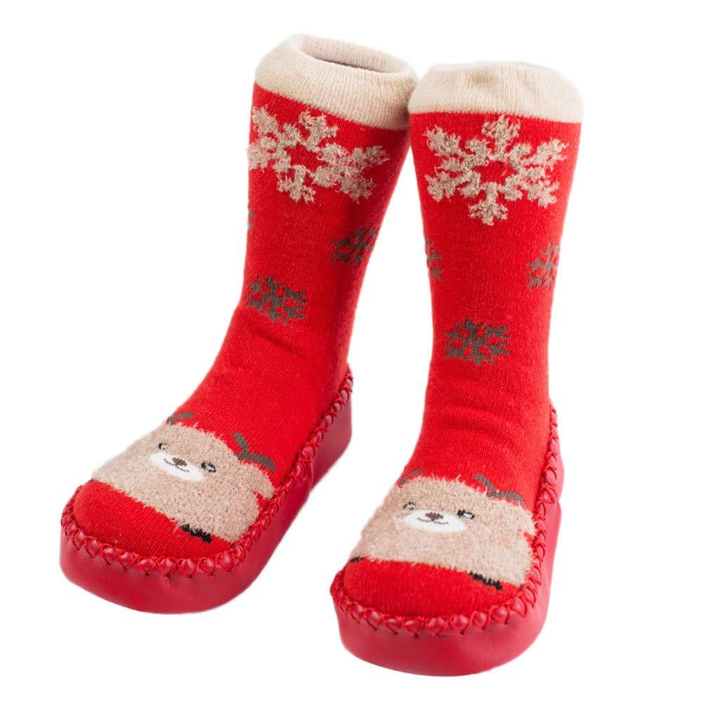 NUWFOR Newborn Baby Boy Girl Cartoon Xmas Floor Socks Anti-Slip Warm Baby Step Socks(Red,18M-24Months)