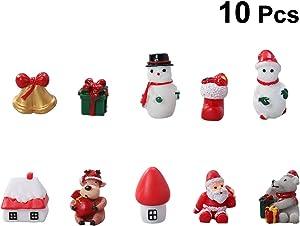 Yardwe 10pcs Mini Christmas Miniature Ornament Kits for DIY Fairy Garden Dollhouse Decoration Desktop Resin Christmas Ornament for Christmas Decoration (Random Style)