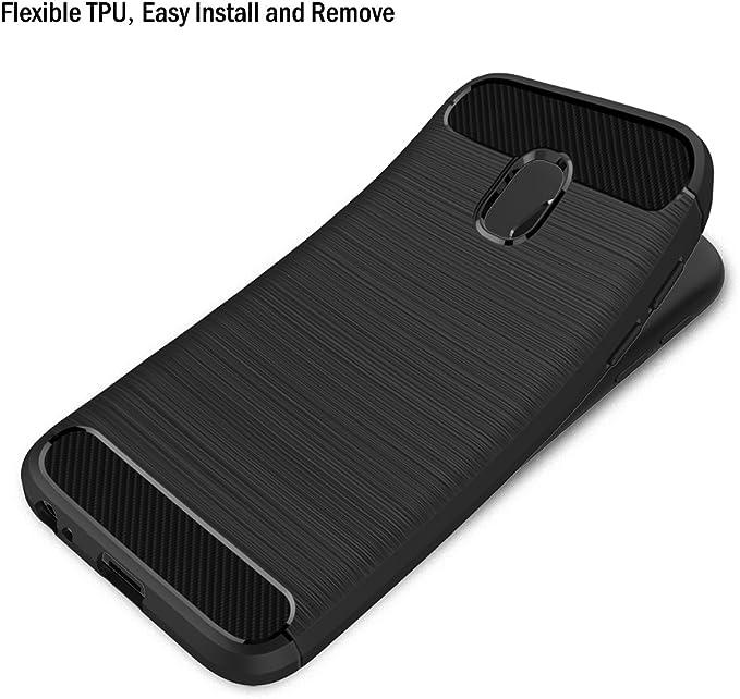 AICEK Coque Samsung Galaxy J3 2017, Noir Silicone Coque pour Samsung J3 2017 Housse Fibre de Carbone Etui Case (5 Pouces SM-J330F)