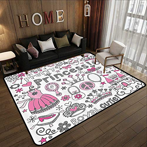 "Rugs for Kitchen Floor,Teen Girls Decor,Fairy Tale Princess Tiara Crown Notebook Doodle Design Sketch Illustration 78.7""x 94"" Polyester Non-Slip Doormat Rugs"