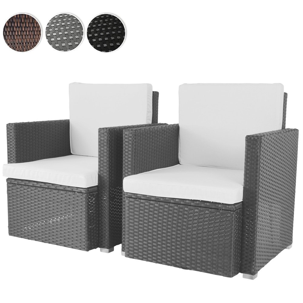 2er set loungesessel aus polyrattan gartenm bel inkl. Black Bedroom Furniture Sets. Home Design Ideas