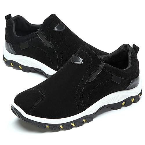 Gracosy Chaussures de Sports Homme Femme, Chaussures Randonnée Multisport Training Outdoor Sneaker Suède A Enfiler Baskets Basse, Noir Bleu Gris