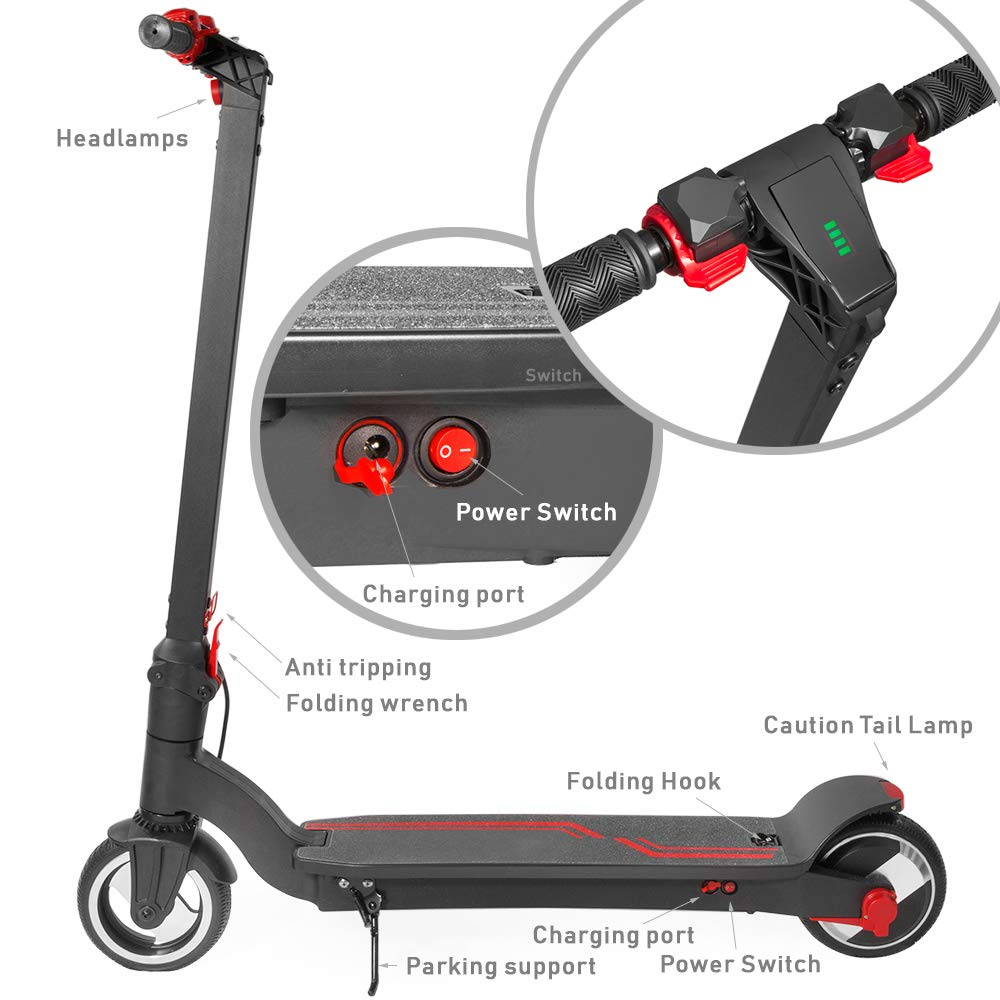 Amazon.com: XPRIT Patinete eléctrico plegable con rueda de ...