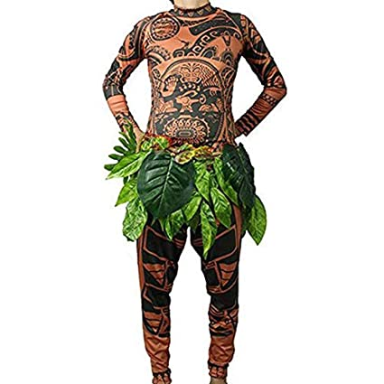 Maui Tattoo - Traje de Disfraz de Halloween, para Hombre, Mujer, con Falda de Hojas, marrón, XX-Large