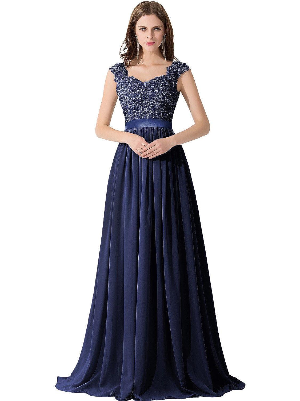 Babyonline Women\'s A-line Evening Dresses Lace Chiffon Long Prom ...