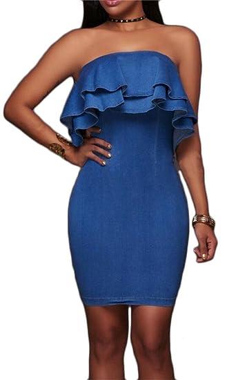 d8180538d0 YYear Womens Club Ruffles Off The Shoulder Strapless Denim Jean Bodycon  Dress Blue XS