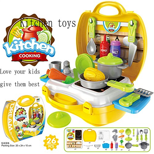 Kitchen Food Playset 26 PCS Set of Pretend for Kids, Includes Cutting Play Fruits and Veggies, Mini Pots and Pans, Cutting Board, Knife,Pepper,Salt and More (Set Slicing Food Play)