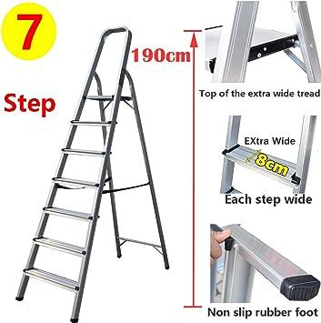 Escalera de aluminio para interior, ligera, portátil, escalera plegable de 7 peldaños, seguridad 150 kg de carga: Amazon.es: Bricolaje y herramientas