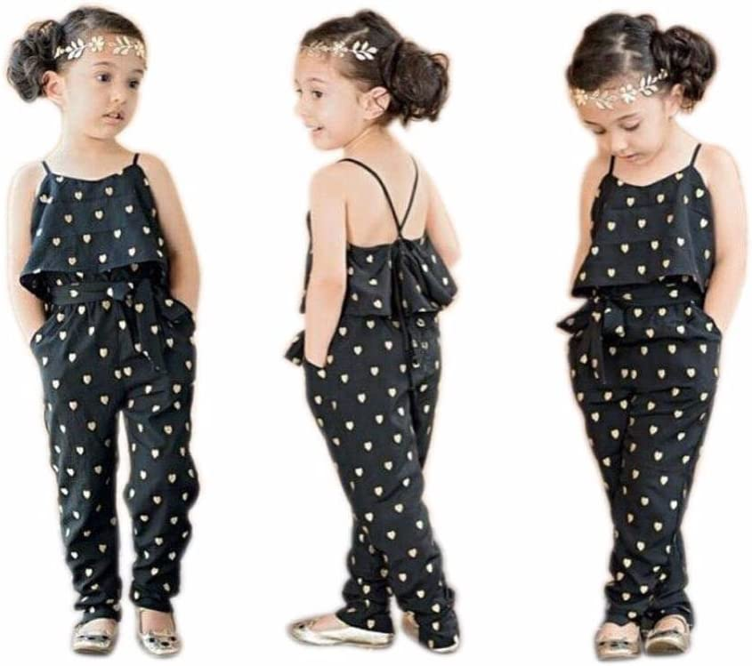 Fasgion Kids Girl Love Heart Print Piece Pants Clothing Straps Rompers Jumpsuits