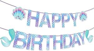 CHEN'SPTY Mermaid happy birthday banner,mermaid party supplies,mermaid party supplies and decorations for Girls,Boys,Kids,Home,Classroom,Baby Showers,1st Birthday…