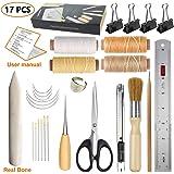 JOFAMY Book Binding Kits, 17 pcs Bookbinding Supplies,A Necessity Book Binding Starter Kit Real Bone Folder,Paper Awl, Large-Eye Needles,Glue Brushes, Scissors, Steel Ruler Wax Thread