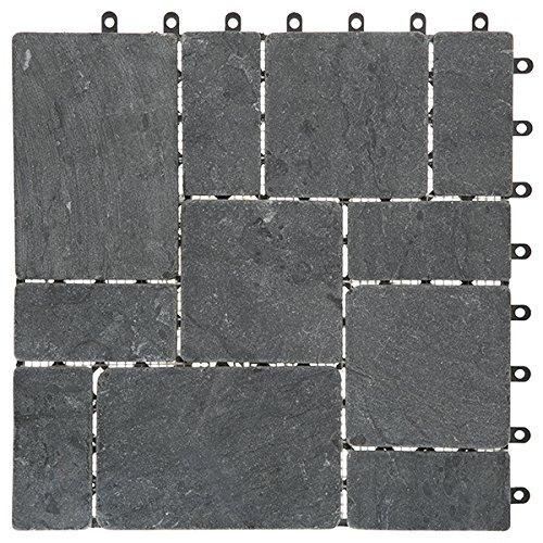 Garden Winds Gray Stone Deck Tiles, Box of 10