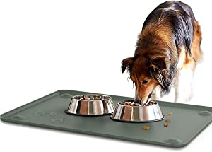 Pawaboo Dog Food Mat, (24''×16'') Large Size Non Slip Foldable Silicone Pet Food Mat Dog Bowl Placemat with Strong Suction Cups, Waterproof Raised Edge Water Bowl Tray Cushion on Floor for Dogs Cats