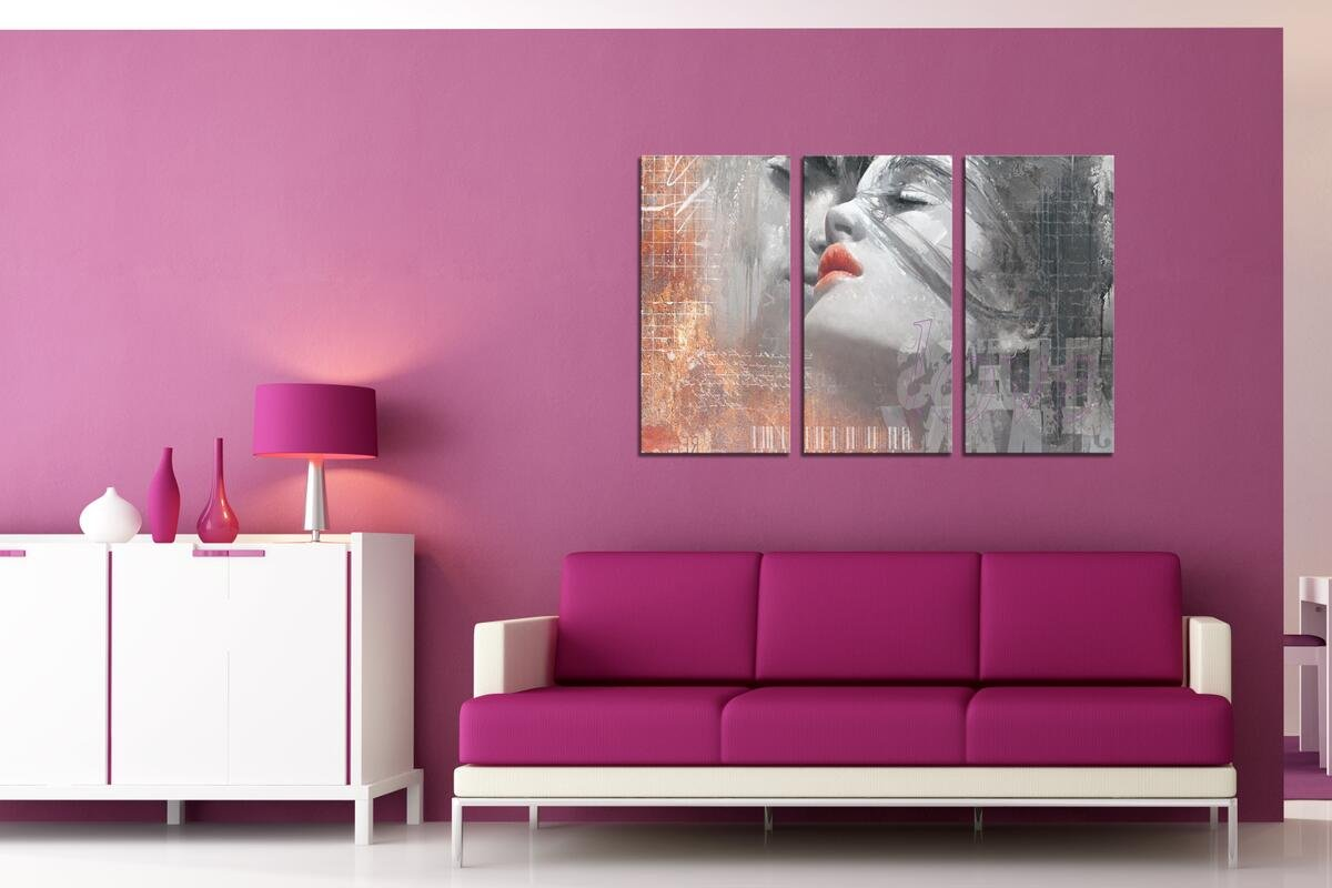 HLJ ART Red Lips Love Kissing Couples Picture Print Art Modern Giclee Canvas Artwork Stretched and Framed, Ready to Hang by HLJ ART (Image #7)