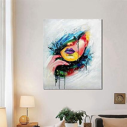 Xianrenge 100 Pintado A Mano Pintura Al óleo Multicolor Cara Femenina Moderno Abstracto Wall Art Pictures Para Sala De Estar Decoración Para El Hogar Amazon Es Hogar