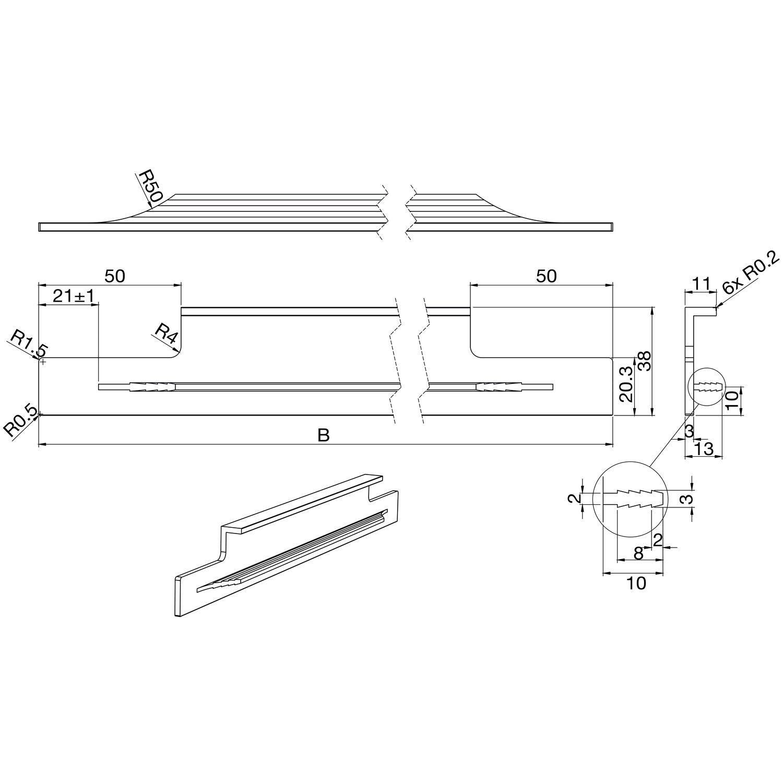 Gedotec AG10011 Poign/ée de meuble rectangulaire en aluminium pour armoire de cuisine Noir 146 mm