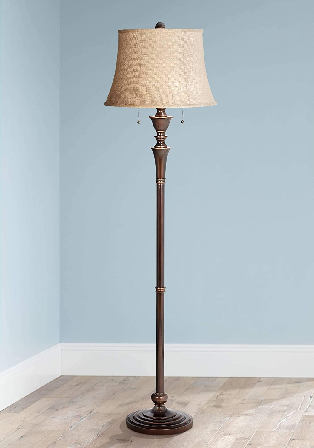 Brooke Traditional Floor Lamp Rich Bronze with Copper Accents Burlap Bell Shade for Living Room Reading Bedroom Office – Regency Hill