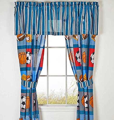 Boys SPORTS PATCH Football Baseball Basketball Soccer Ball Blue Window Treatment Curtain Set (4 Pieces)VALANCE NOT INCLUDED (Curtains - 2-Panels w/2-Tiebacks 42