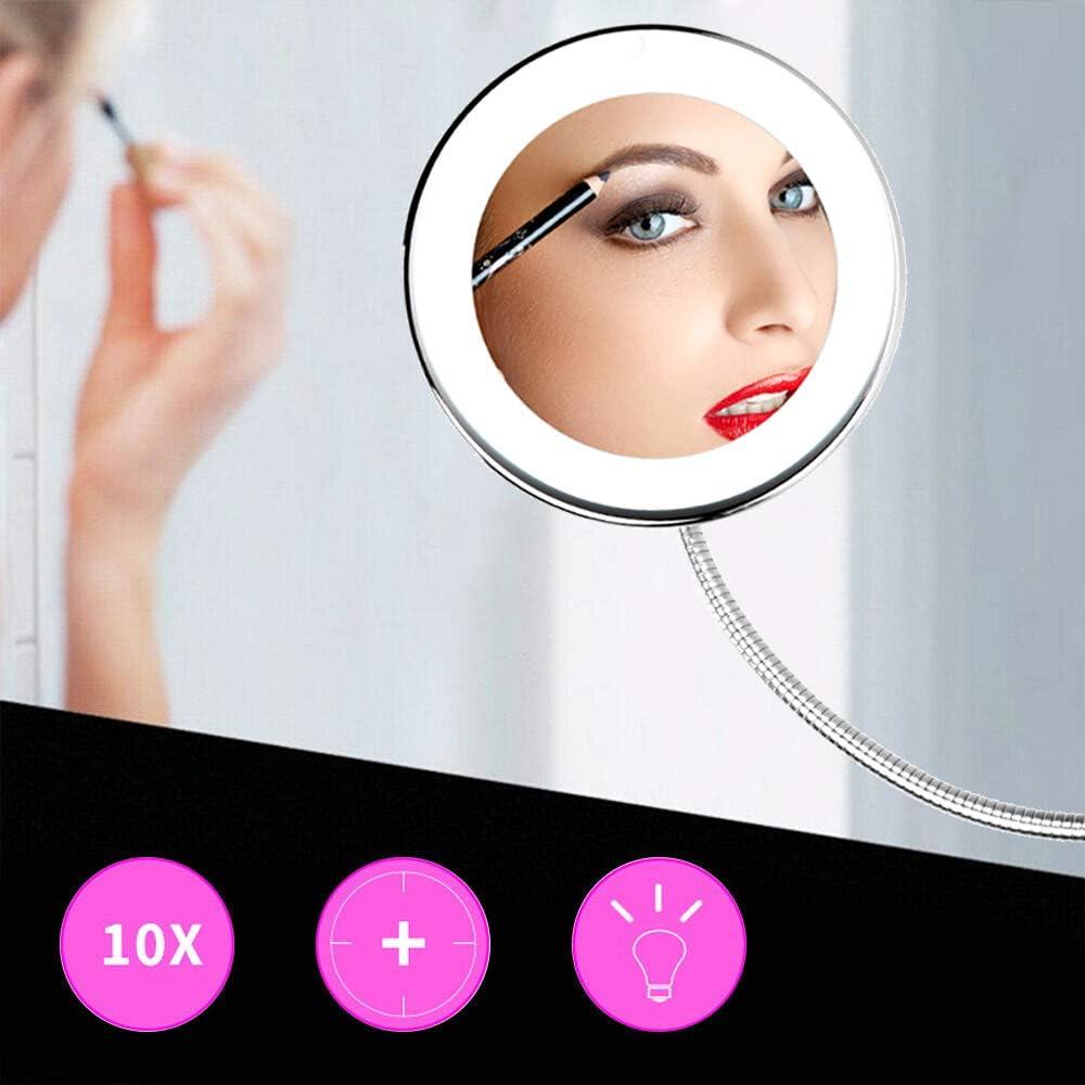 10X Espejo de Maquillaje con Luz LED Espejo Cosm/éTico con Ventosa /& el Cuello de Cisne Flexible Ajustable Cisne de 360 /°,Pared para Ba/ño//Tocador//Hotel 3 Pilas No Incluido