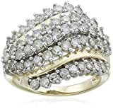 10K Yellow Gold Diamond Cluster Ring (2cttw), Size 7