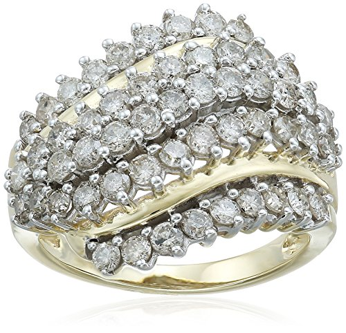 10K Yellow Gold Diamond Cluster Ring (2cttw), Size 7 Cut Diamond Cluster Ring