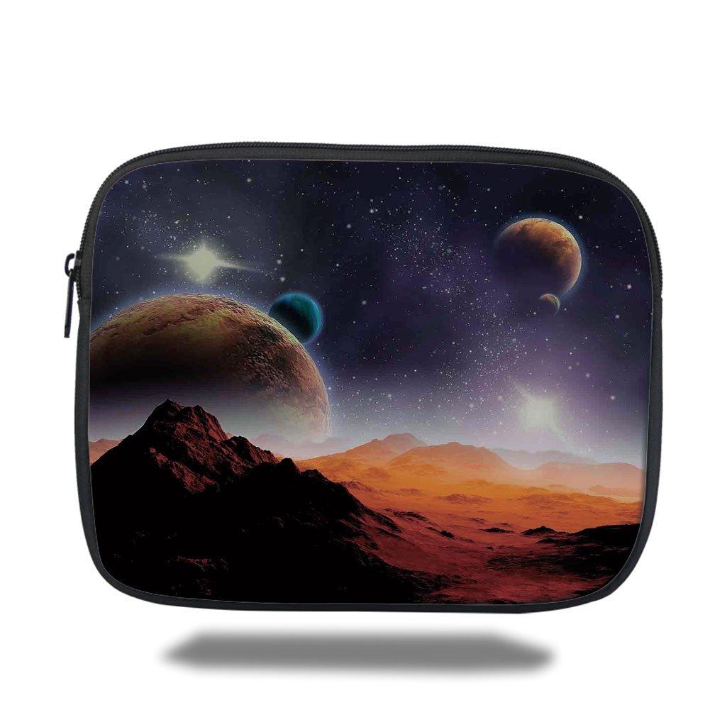 Laptop Sleeve Case,Earth and Cosmos Fantasy Decor,Solar Sky Nebula Orbit Comet Horizon System,iPad Bag