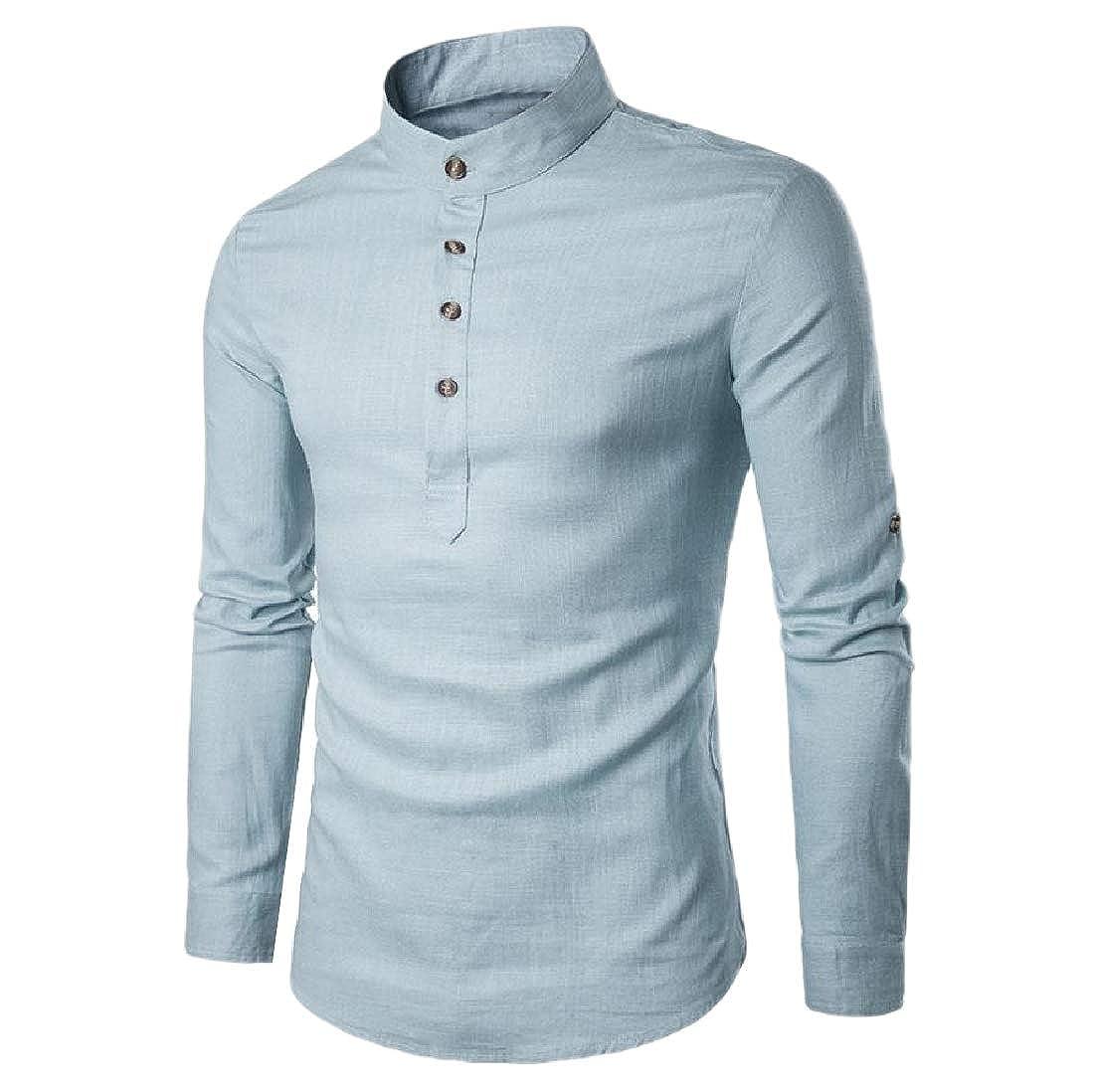 SportsX Men Mao Collar Pure Color Woven Tops Career Button-Down-Shirts