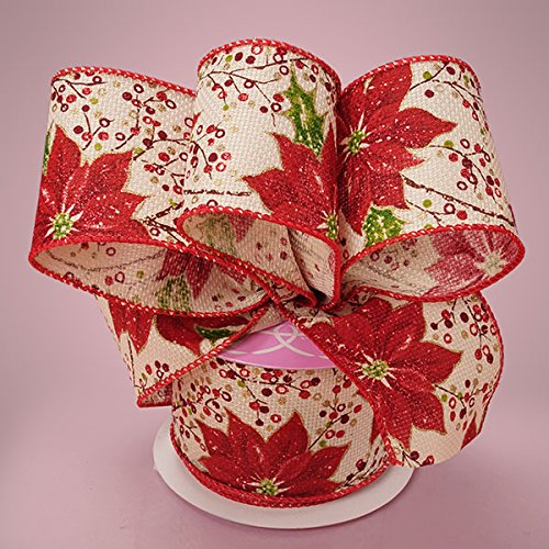Premium Natural Wide Christmas Ribbon - 2 1/2 Inches by 10 Yards (MULTI POINSETTIA)