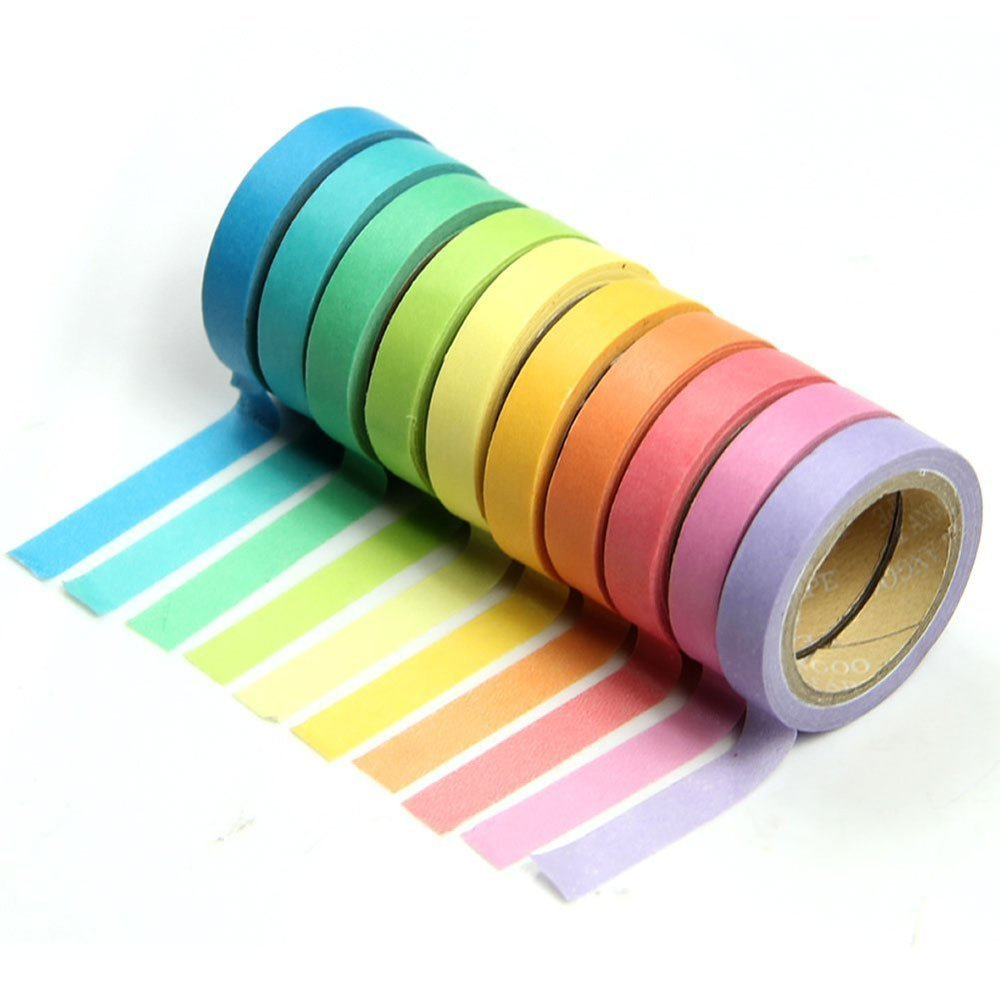 Vikenner 10 Pcs Decorative Washi Tape Rolls Masking Adhesive Rainbow Candy Color Paper Tape DIY Sticker for School Stationery Gift