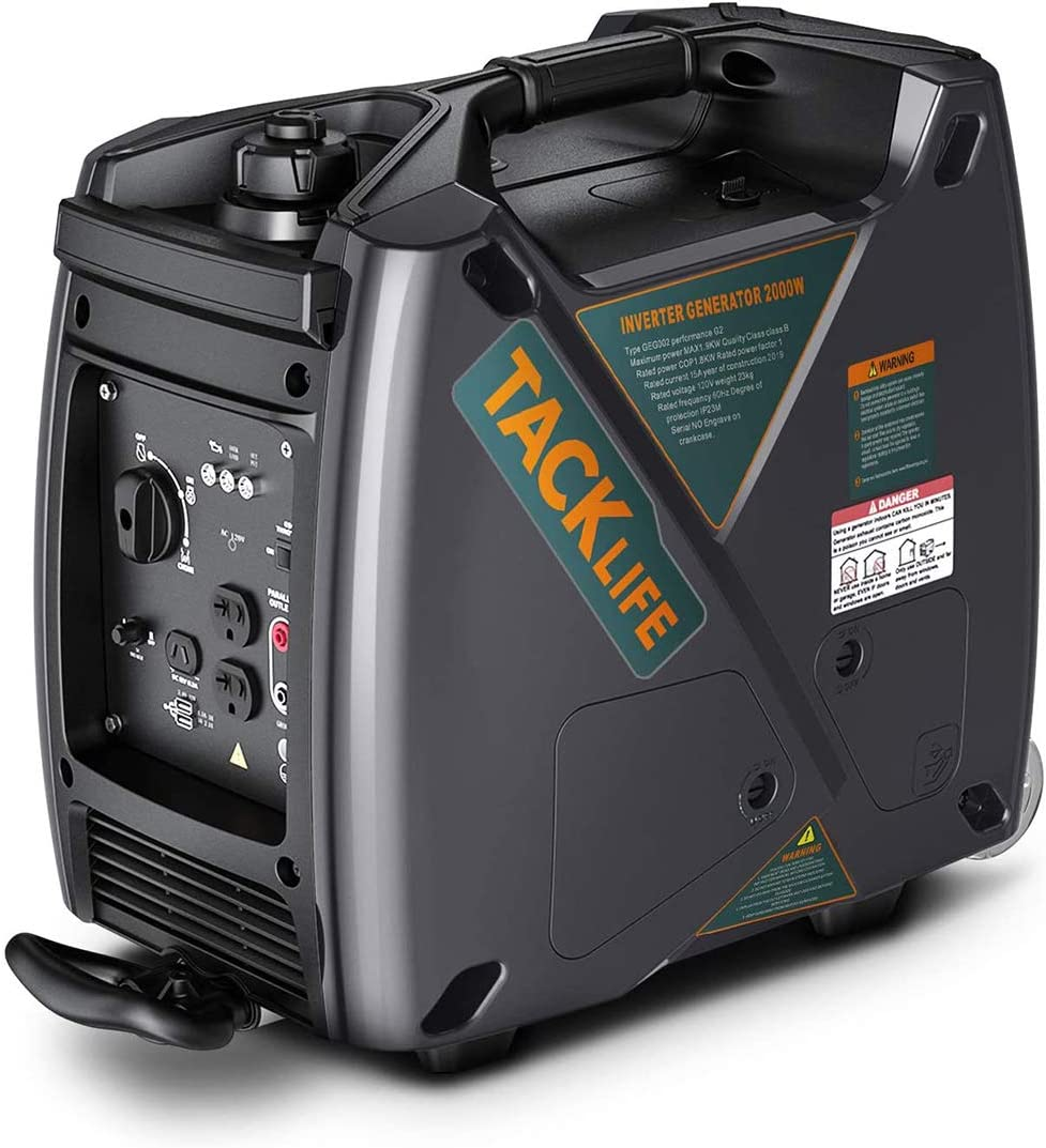 TACKLIFE Power Inverter Generator 2000W 53dbs 1.2 gal Fuel Tank, Portable Quiet Generator with Luggage Design, USB 3.0 Charging – GEG001