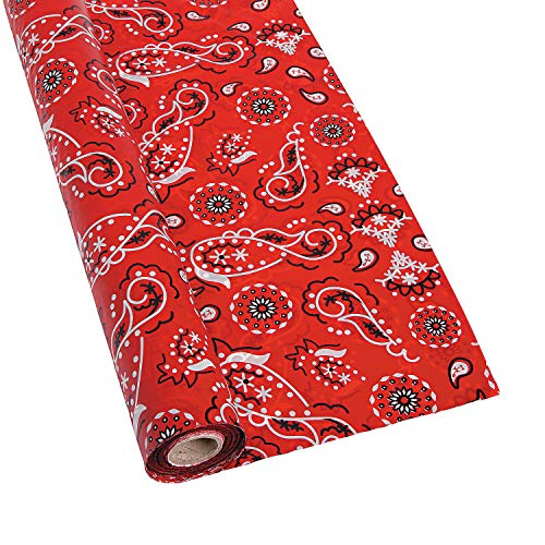 Fun Express Red Bandanna Tablecloth Roll (100 ft Roll) Disposable