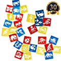 SUBANG 30 Pcs Plastic Animal Painting Drawing Stencil Templates for Kids Crafts, Five Different Patterns of Painting Templates,Washable Template for School Projects from SUBANG