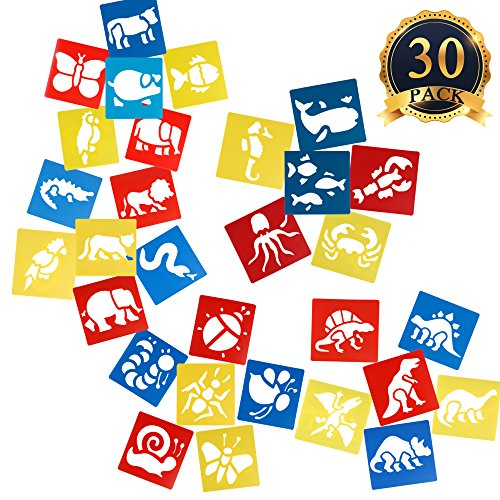 SUBANG 30 Pcs Painting Stencil Plastic Animal Drawing - Stencils For Kids Art And Craft
