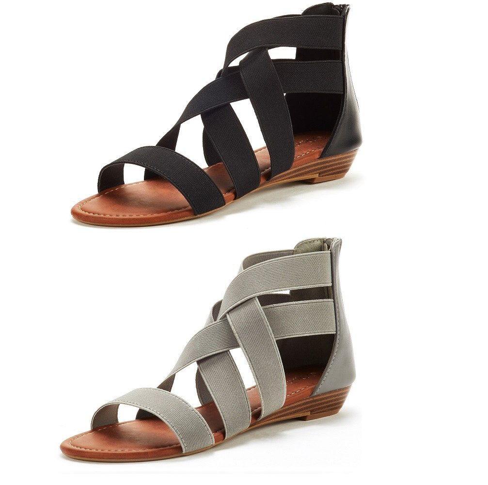 DREAM PAIRS Women's ELASTICA8 Black and Grey (2 Pairs) Elastic Ankle Strap Low Wedges Sandals Size 8 M US