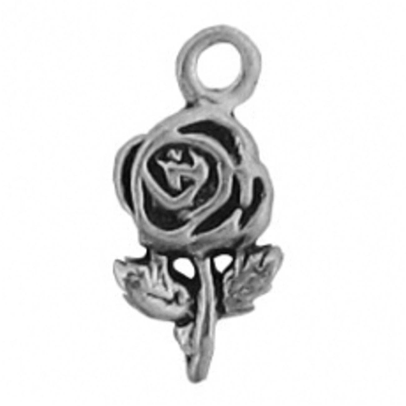 Sterling Silver 7 4.5mm Charm Bracelet With Attached Mini Rose Flower Charm