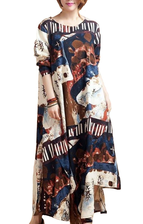 Damen Baumwolle Leinen Langarm Kleid Partykleid Abendmode günstig