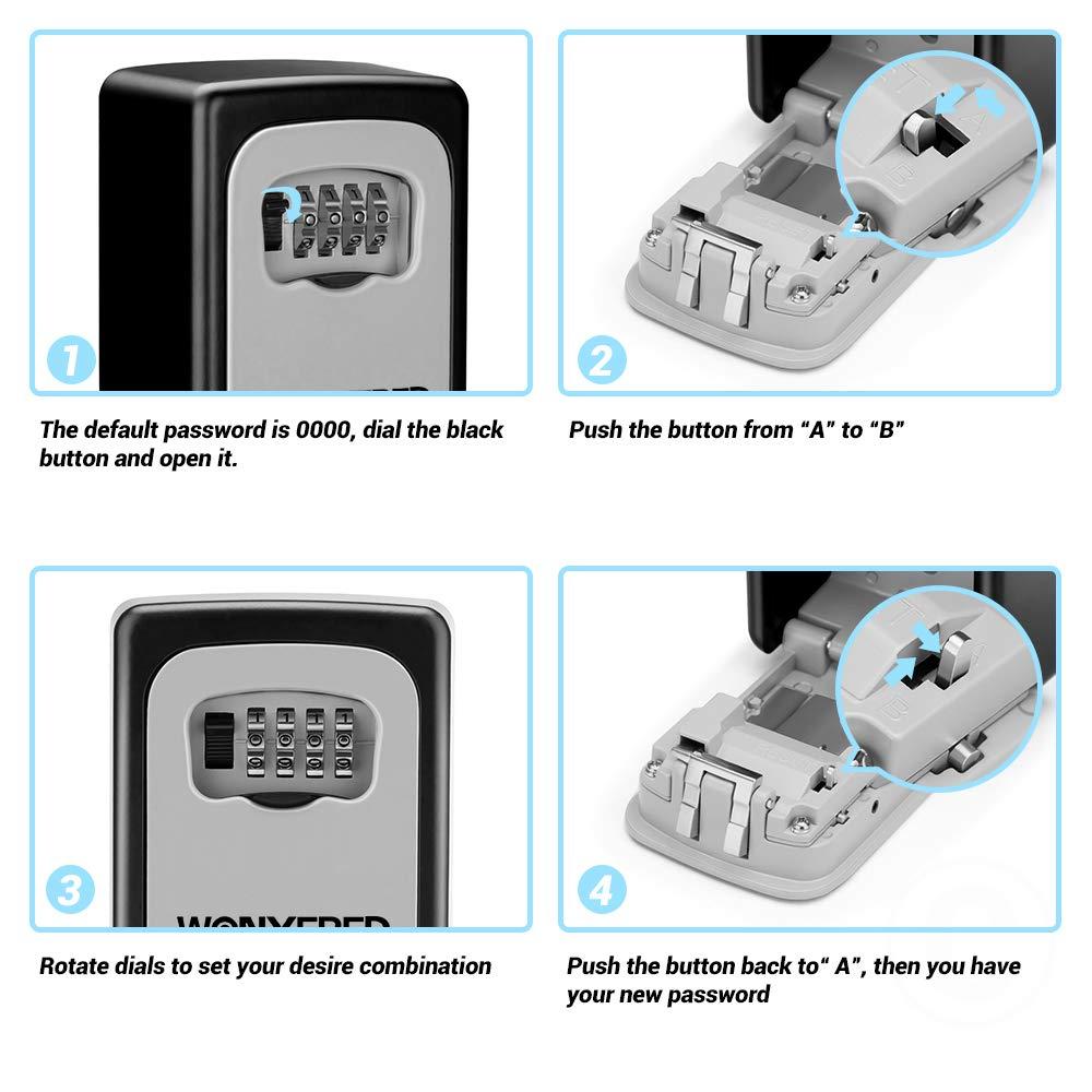 Caja de cerradura para llaves montaje en pared para compartir llave segura combinaci/ón de llaves Wonyered