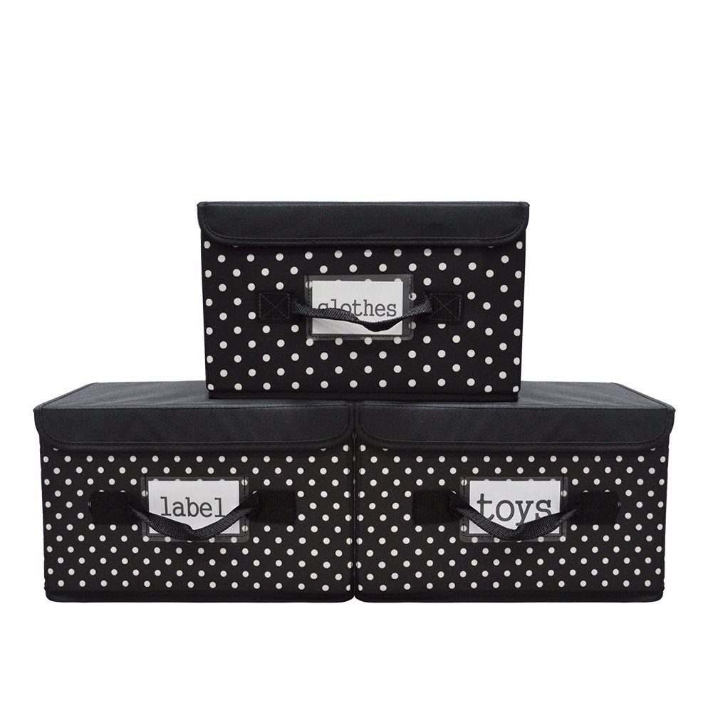VNOM Fabric Storage Bins (Pack of 3), Collapsible Cube Storage Bins, Handle Storage Basket Storage Needs Containers Organizer With Lip (black)