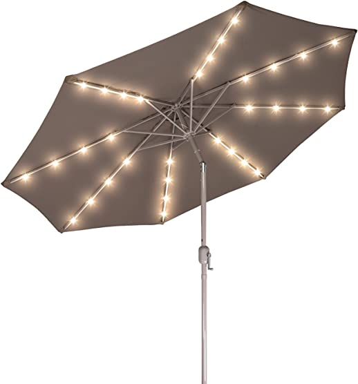 Deluxe Solar Powered LED Lighted Patio Umbrella