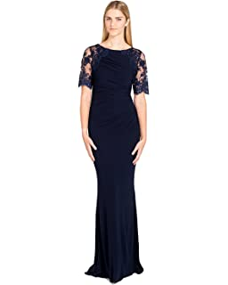Badgley Mischka Womens Short Sleeve Lace and Matte Jersey Gown