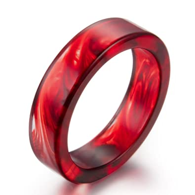 AUMRET Pattern Blood Drops Female Ring Romance Vampire Blood Resin