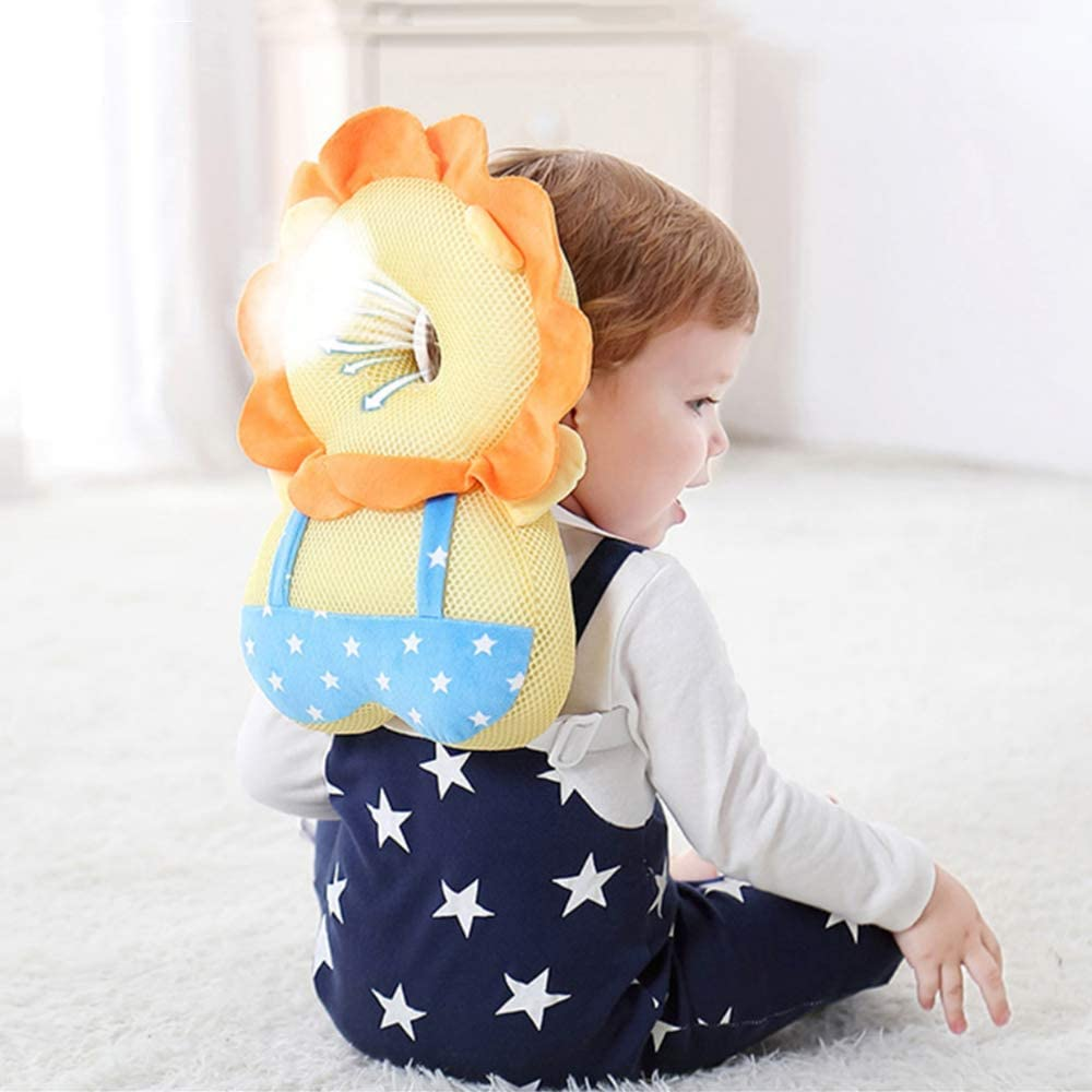 XIZHI Baby Toddlers Head Protective Baby Safety Mat Protection Head Protection Pillow Elastic Comfortable Shoulder Back Learn Walking Protective Cushion Black